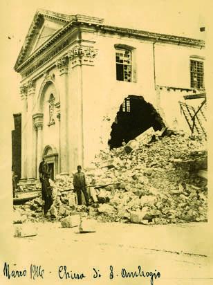 Monfalcone, marzo 1916, rovine del Duomo (ph. A.V. Spanghero)