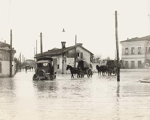 Turriaco, 28 ottobre 1917. La piazza allagata