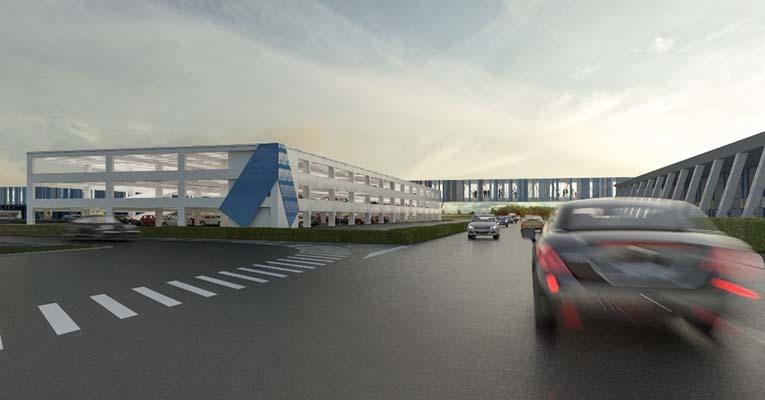 Rendering di passerella e polo intermodale dalla SS 14 (ph. Trieste Airport)
