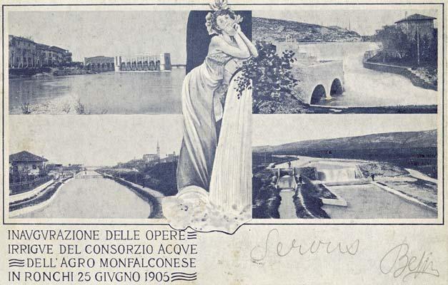 Cartolina commemorativa dell'inaugurazione delle Opere sull'Isonzo a Sagrado