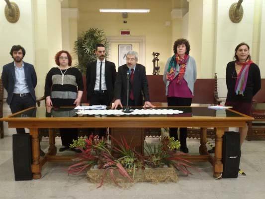 I relatori intervenuti alla conferenza stampa (ph. Ufficio stampa Pride FVG)
