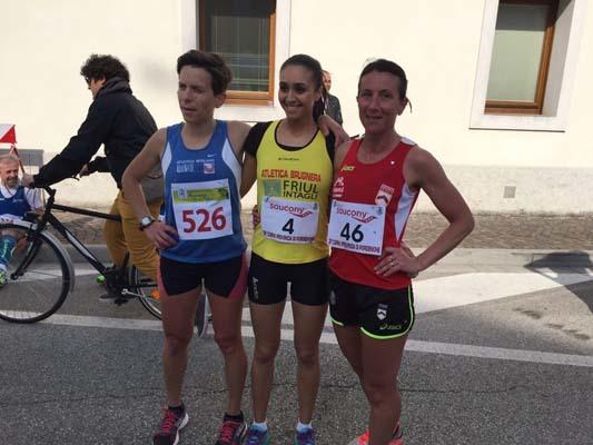 Il podio femminile: da sinistra Golin, Masoudi e Bagatin