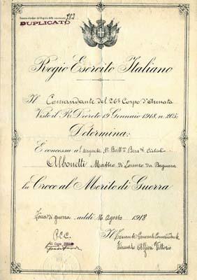 Diploma di Croce al Merito di Matteo Albonetti