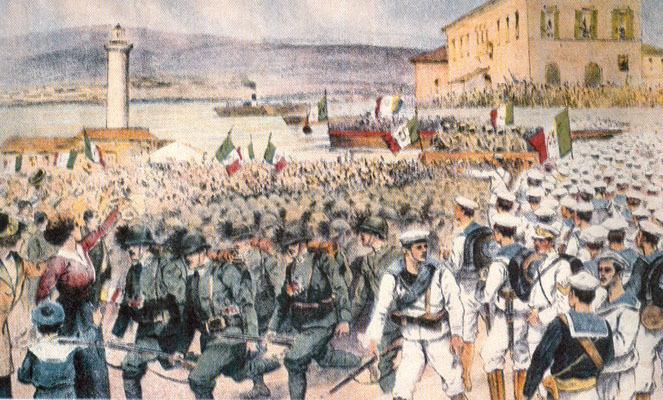 I bersaglieri sbarcano a Trieste il 3 novembre 1918