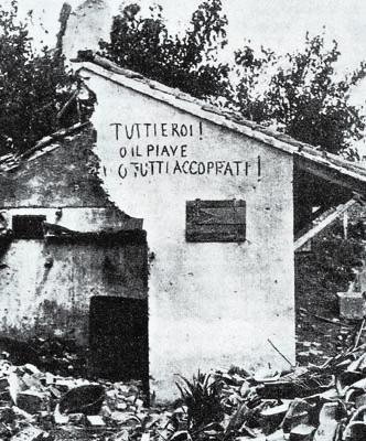 Scritta su una casa distrutta