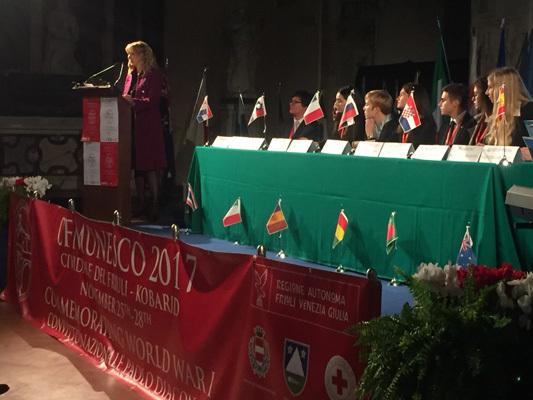 L'intervento di Patrizia Pavatti durante la cerimonia d'apertura del 2017