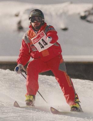 Durante una gara di sci