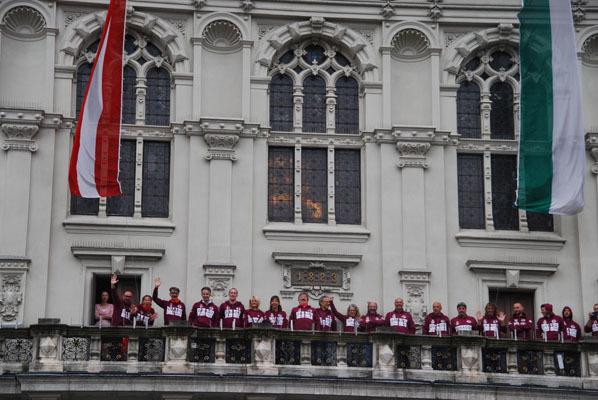 Sul balcone del municipio di Graz