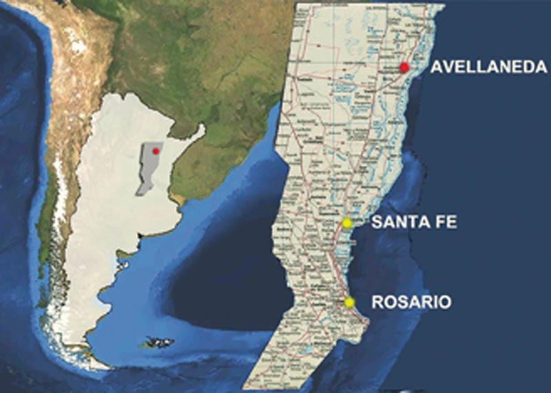 Pianta dell'Argentina, con la localizzazione di Avellaneda