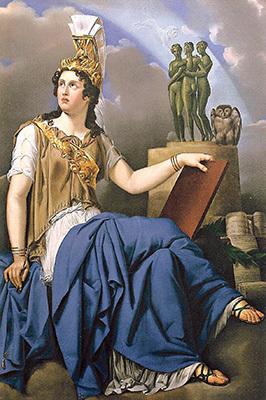 Anna de Fratnich Salvotti, Minerva e le Grazie. 1825, olio su tela