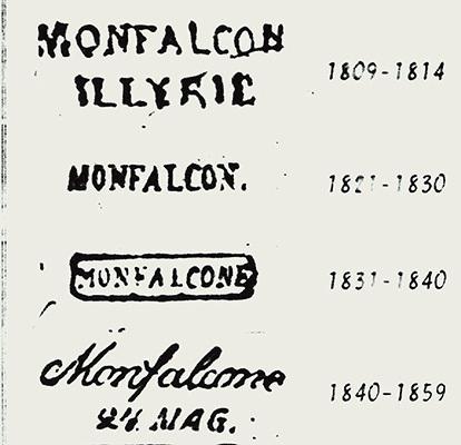 Alcuni timbri postali di Monfalcone del primo Ottocento