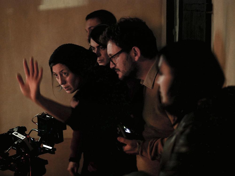 La troupe durante le riprese
