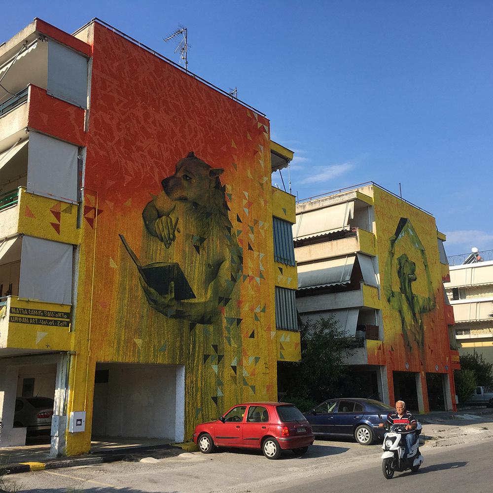 A PAGE IN A DIARY OF A VOICELESS e HARDCOVER ROOF, opera realizzata da Campo Dall'Orto a Volos (Grecia), in collaborazione con Urban Act