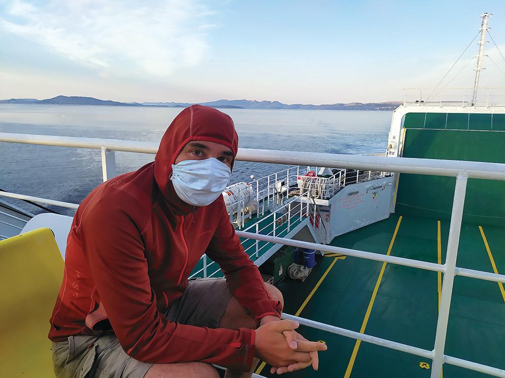 Michele Tomaselli sul traghetto per Dugi Otok