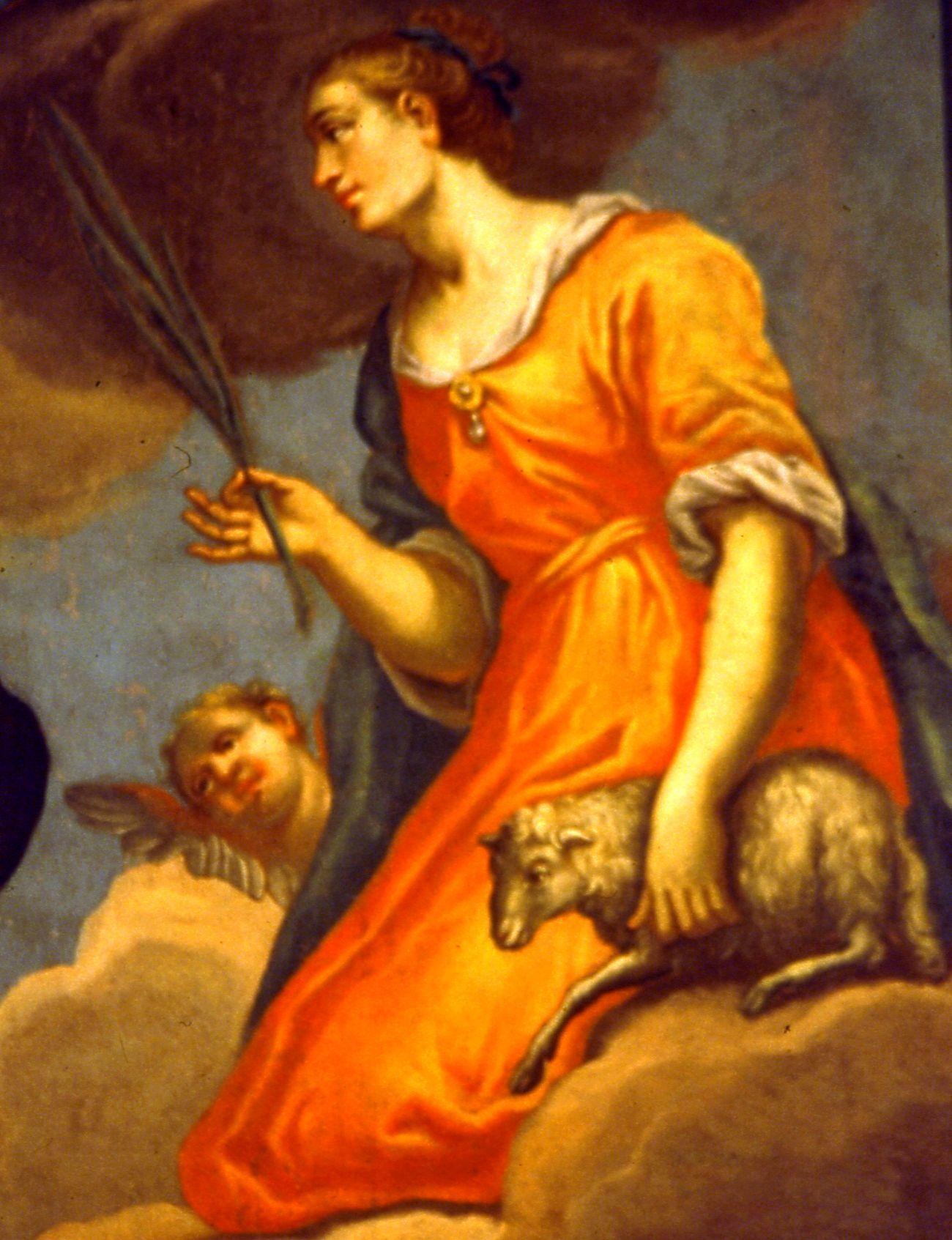 Santa Agnese tela sul soffitto della navata (particolare) della parrocchiale a Joannis