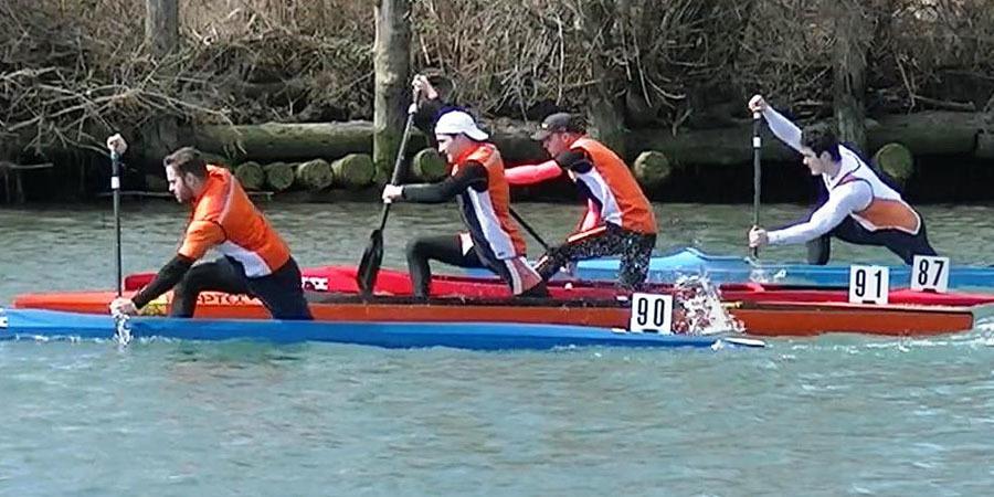 Stefano Del Pin, Gabriele Dri, Andrea Corso e Stefano Baldo nella canadese