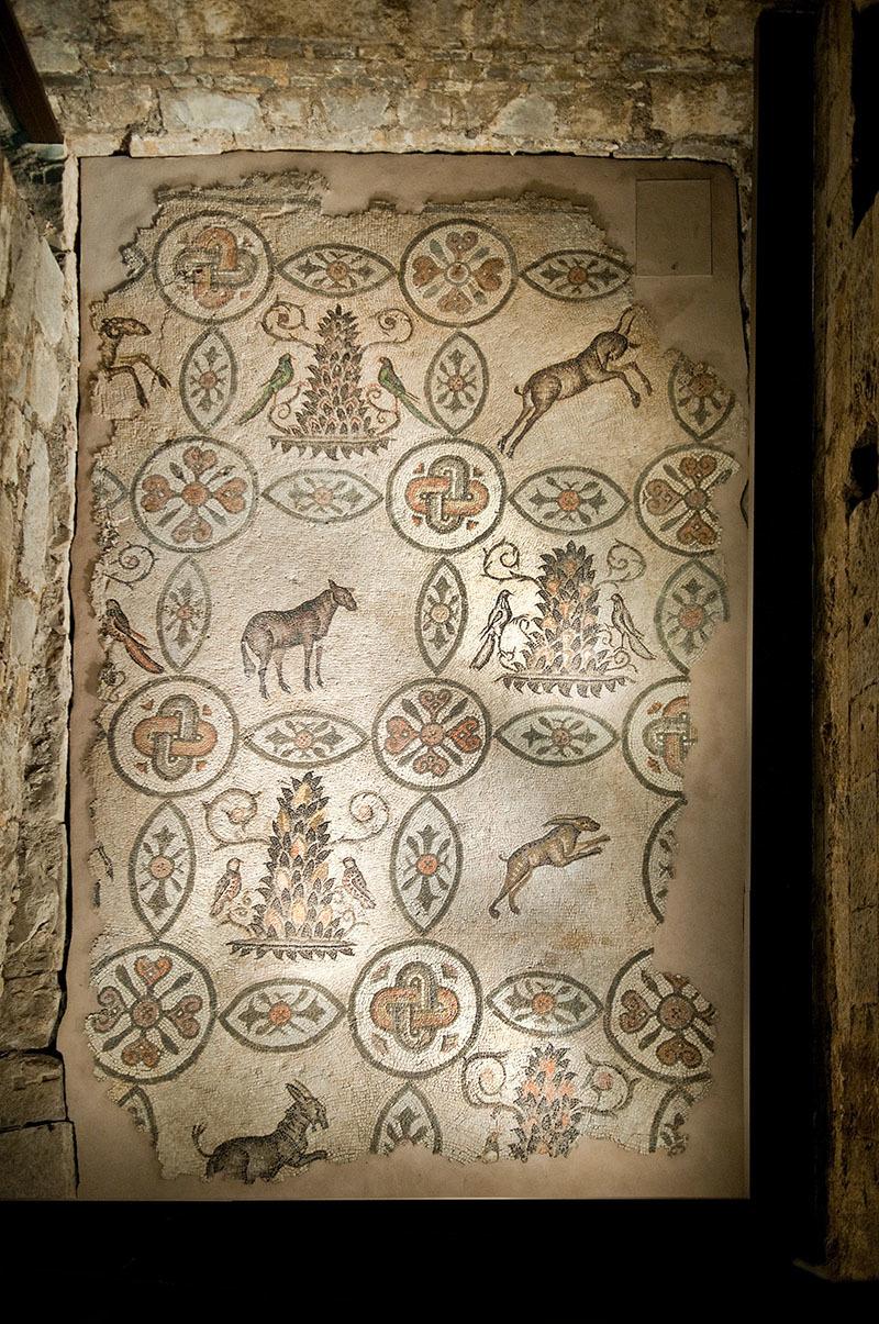 Mosaico dell'aula nord della Basilica teodoriana. Lacerto musivo all'interno del campanile (© G. Baronchelli)