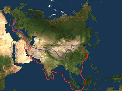 Ricostruzione dell'itinerario di andata (in rosso) e di ritorno (in blu) compiuto da Odorico da Pordenone