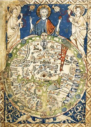 Londra, British Library, add. 28681, fol. 9v. Mappa del mondo secondo la visione medievale, con Gerusalemme al centro. Il manoscritto risale al 1260-1265