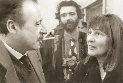 Battaglia fotografata con il giudice antimafia Paolo Borsellino a Palermo nel 1990 (ph. L. Battaglia)